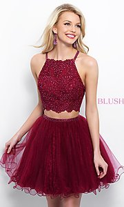 Blush Short Two-Piece High Neck Homecoming Dress