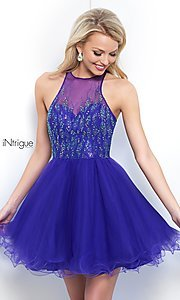 Image of violet purple high-neck short homecoming dress. Style: BL-IN-351 Front Image