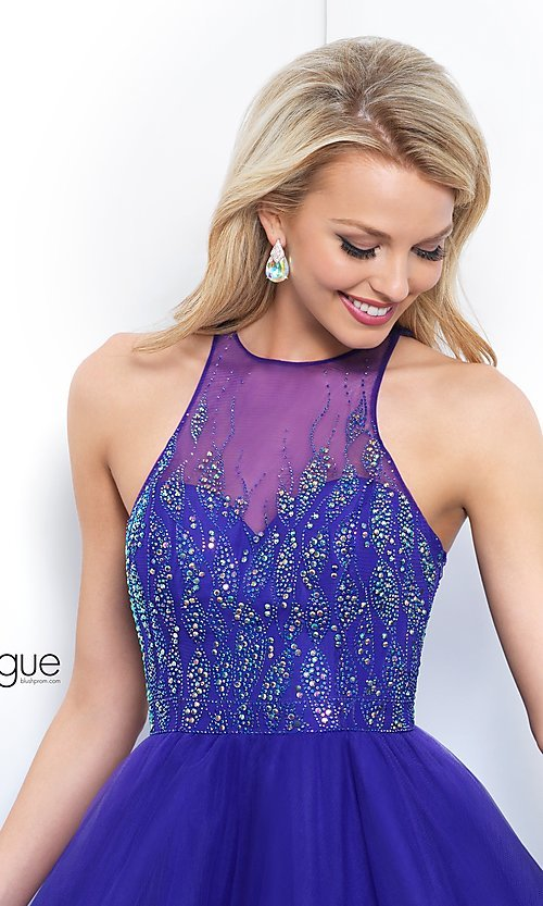 Image of violet purple high-neck short homecoming dress. Style: BL-IN-351 Detail Image 1