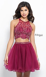 Two-Piece Berry Pink Homecoming Dress with Beading