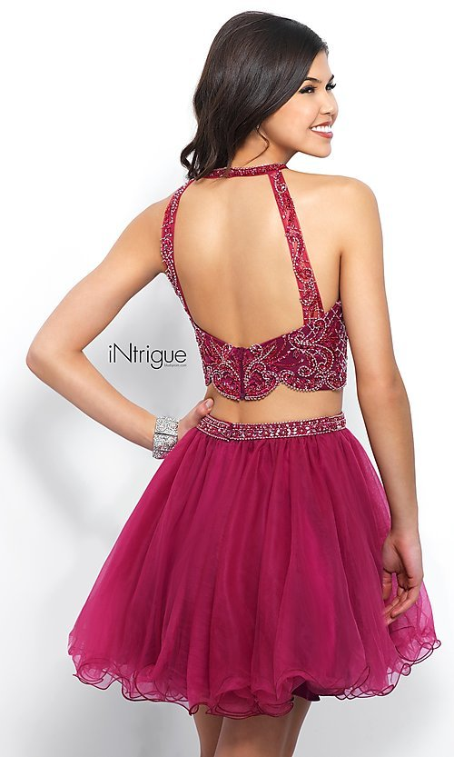 Image of two-piece berry pink homecoming dress with beading. Style: BL-IN-360 Back Image