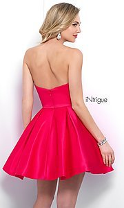 Image of fit-and-flare short homecoming dress with pockets. Style: BL-IN-363 Back Image