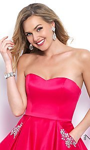 Image of fit-and-flare short homecoming dress with pockets. Style: BL-IN-363 Detail Image 1