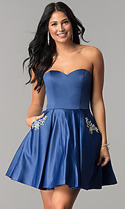 Image of fit-and-flare short homecoming dress with pockets. Style: BL-IN-363 Detail Image 2