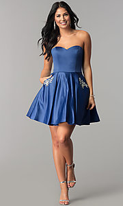 Image of fit-and-flare short homecoming dress with pockets. Style: BL-IN-363 Detail Image 3