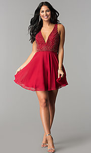 Image of Intrigue by Blush v-neck chiffon homecoming dress. Style: BL-IN-366 Detail Image 3