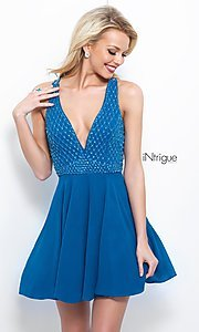 Image of Intrigue by Blush v-neck chiffon homecoming dress. Style: BL-IN-366 Front Image