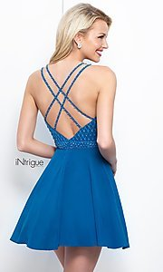 Image of Intrigue by Blush v-neck chiffon homecoming dress. Style: BL-IN-366 Back Image