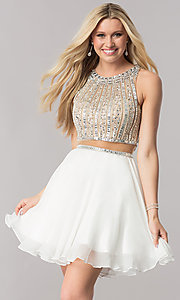Mock-Two-Piece Chiffon Homecoming Dress with Beading