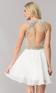 Image of mock-two-piece chiffon homecoming dress with beading. Style: CD-1744 Back Image