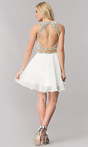 Image of mock-two-piece chiffon homecoming dress with beading. Style: CD-1744 Detail Image 2