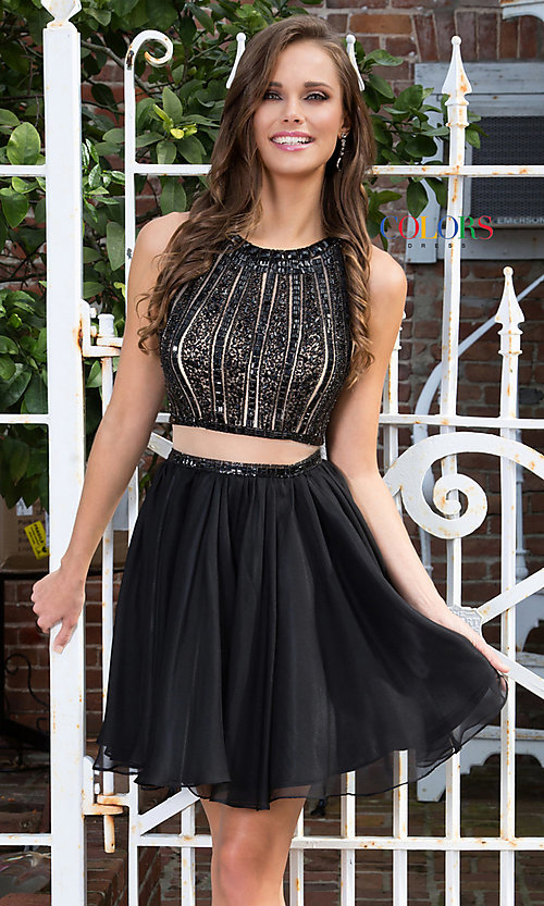 Image of mock-two-piece chiffon homecoming dress with beading. Style: CD-1744 Front Image