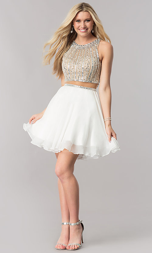 Image of mock-two-piece chiffon homecoming dress with beading. Style: CD-1744 Detail Image 1