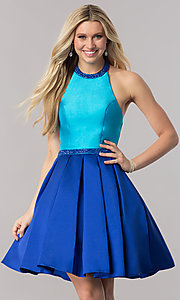 Image of two-tone halter party dress with high-neck collar. Style: CD-1750 Front Image