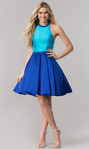 Image of two-tone halter party dress with high-neck collar. Style: CD-1750 Detail Image 1