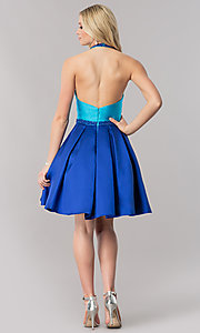 Image of two-tone halter party dress with high-neck collar. Style: CD-1750 Detail Image 2