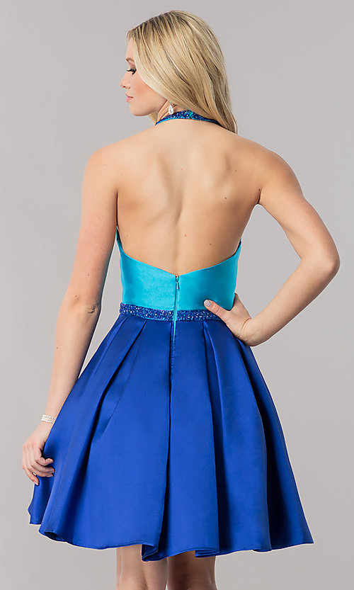 Image of two-tone halter party dress with high-neck collar. Style: CD-1750 Back Image