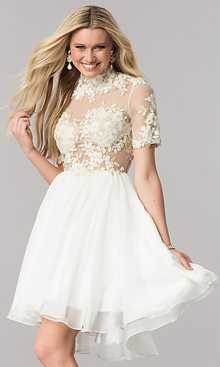 White and Ivory Reception Dresses - PromGirl