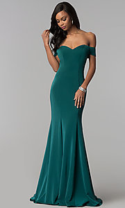 Off-the-Shoulder Long Formal Dress with Open Back
