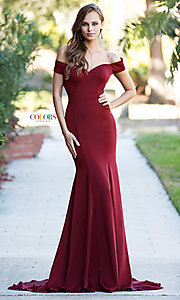 Image of off-the-shoulder long formal dress with open back. Style: CD-1768 Detail Image 2