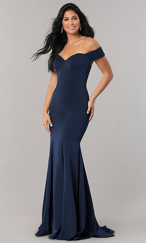 Image of off-the-shoulder long formal dress with open back. Style: CD-1768 Detail Image 1