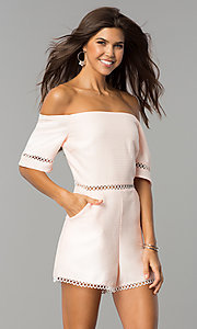 Off-the-Shoulder Short Casual Romper with Pockets