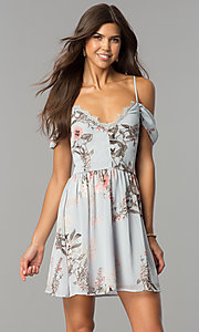 Short Cold-Shoulder Casual Party Dress with Print