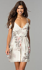 Image of short cold-shoulder casual party dress with print. Style: JTM-JMD7669 Detail Image 2