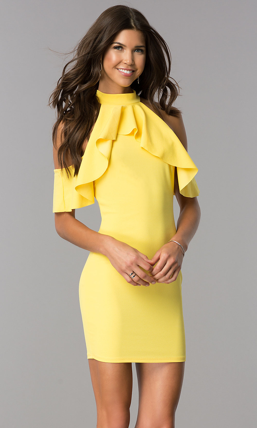 Cheap Cold-Shoulder Yellow Party Dress - PromGirl