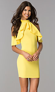Image of ruffled cold-shoulder short party dress in yellow. Style: BLU-BD8527 Detail Image 2
