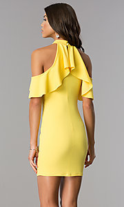 Image of ruffled cold-shoulder short party dress in yellow. Style: BLU-BD8527 Back Image