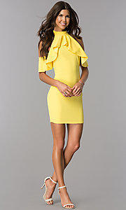 Image of ruffled cold-shoulder short party dress in yellow. Style: BLU-BD8527 Detail Image 3