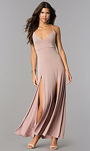 Image of casual open-back v-neck maxi dress with slits. Style: BLU-BD7912 Detail Image 1