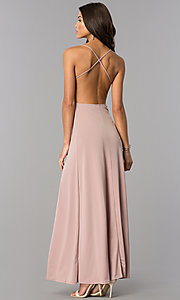 Image of casual open-back v-neck maxi dress with slits. Style: BLU-BD7912 Back Image