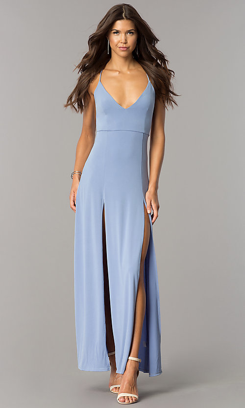 Image of casual open-back v-neck maxi dress with slits. Style: BLU-BD7912 Detail Image 2