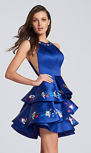 Short Open Back Homecoming Dress with Floral Print