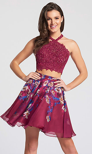 Two-Piece Short Open Back Homecoming Dress with Floral Skirt