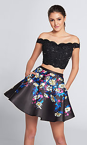 Short Two-Piece Off-the-Shoulder Floral Print Homecoming Dress with Pockets
