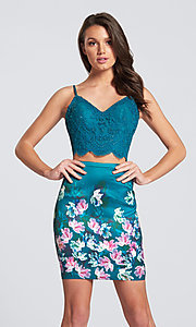 Short Two-Piece Floral Print Homecoming Dress with Lace Top