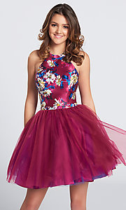 Short Halter Top Floral Printed Homecoming Dress with Tulle Skirt