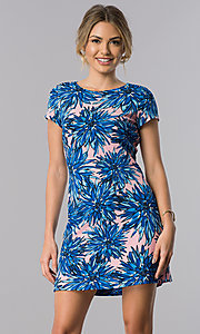 Short Floral Print Career Sheath Dress