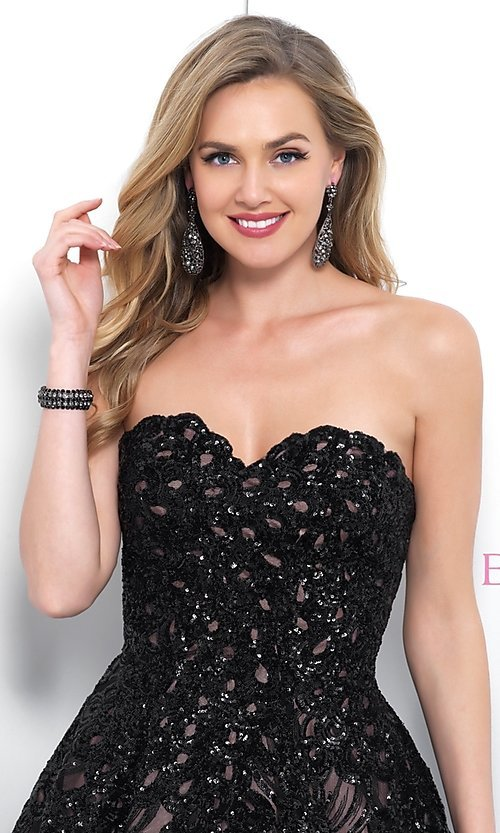 Image of Blush strapless short black sequin homecoming dress. Style: BL-11366 Detail Image 1