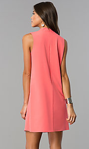 Image of choker-collar casual shift dress with v-neck cut out. Style: XO-9831ANT3 Back Image