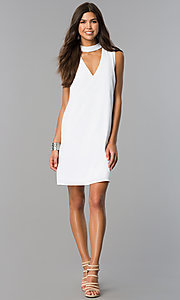 Image of choker-collar casual shift dress with v-neck cut out. Style: XO-9831ANT3 Detail Image 3
