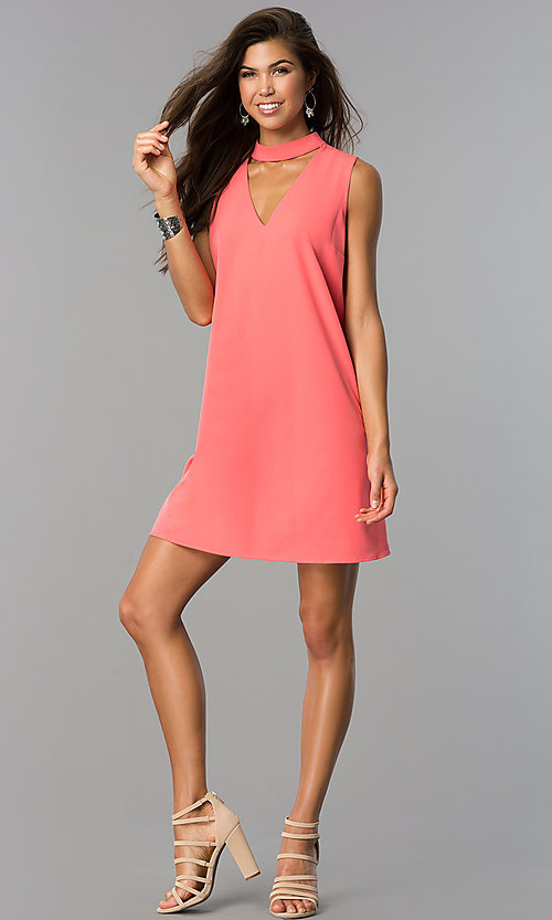 Image of choker-collar casual shift dress with v-neck cut out. Style: XO-9831ANT3 Detail Image 1