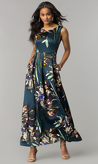 Maxi-Length Floral Print Formal Wedding Guest Dress