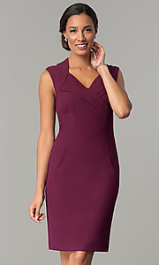 Image of short v-neck day-to-night holiday party dress. Style: ET-EDJMB773 Front Image