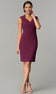 Image of short v-neck day-to-night holiday party dress. Style: ET-EDJMB773 Detail Image 1
