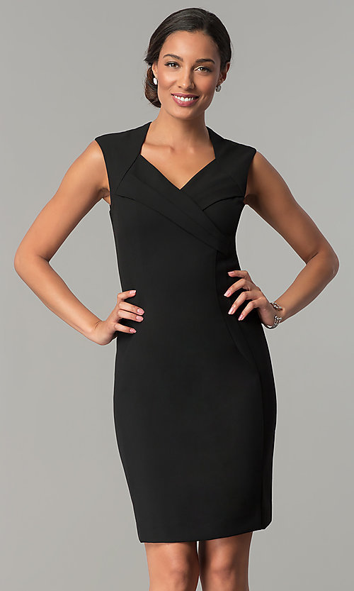Image of short v-neck day-to-night holiday party dress. Style: ET-EDJMB773 Detail Image 2