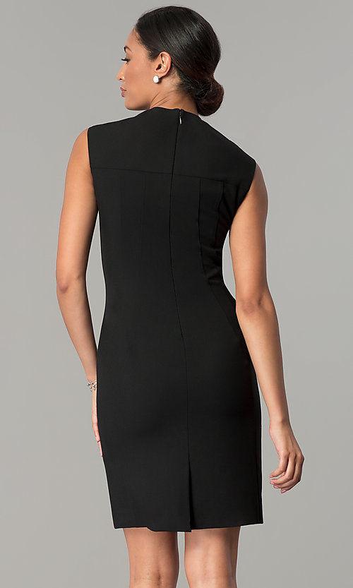 Image of short v-neck day-to-night holiday party dress. Style: ET-EDJMB773 Back Image